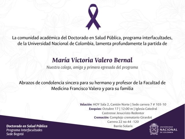 CONDOLENCIAS POR LA PARTIDA DE MARÍA VICTORIA VALERO BERNAL